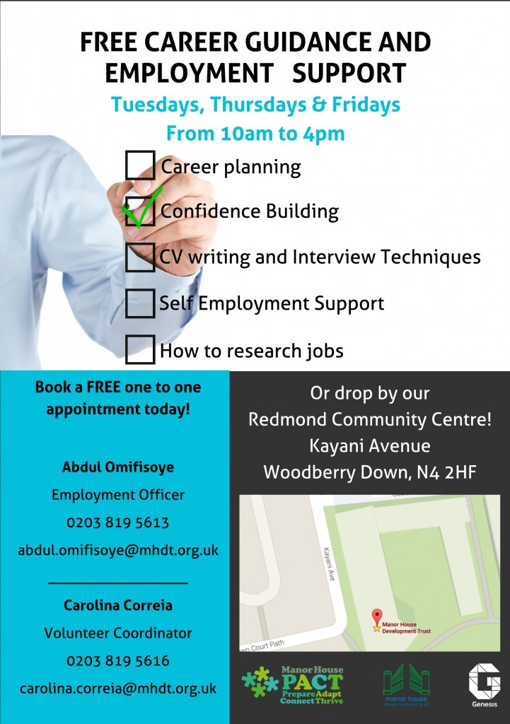 Free Career Guidance And Employment Support Manor House Development Trust