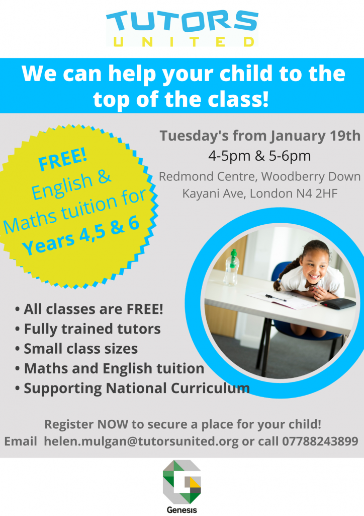 Free English Maths Tuition Genesis Woodberry Down